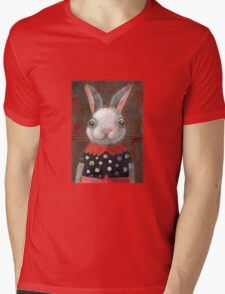 White Rabbit Girl Mens V-Neck T-Shirt