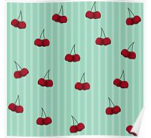 Cheery Cherries and Stripes Poster