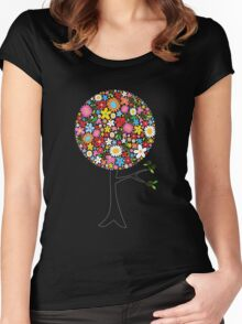Whimsical Colorful Spring Flowers Pop Tree Women's Fitted Scoop T-Shirt