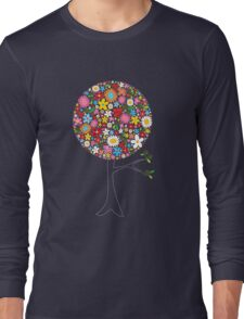 Whimsical Colorful Spring Flowers Pop Tree Long Sleeve T-Shirt