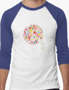 Whimsical Colorful Spring Flowers Pop Tree Men's Baseball ¾ T-Shirt