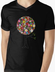 Whimsical Colorful Spring Flowers Pop Tree Mens V-Neck T-Shirt