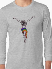 Gay Christ Wearing Rainbow LGBT Loincloth Long Sleeve T-Shirt
