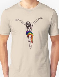 Gay Christ Wearing Rainbow LGBT Loincloth Unisex T-Shirt
