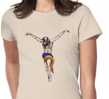 Gay Christ Wearing Rainbow LGBT Loincloth Womens Fitted T-Shirt