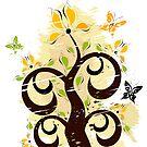 Grunge floral ornament by Olga Altunina