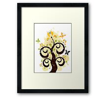 Grunge floral ornament Framed Print