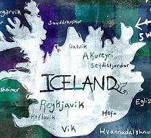 Iceland Map by Hebe Atzori