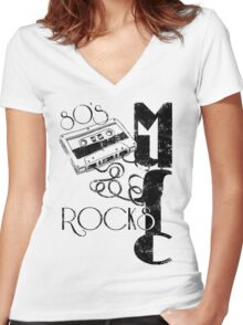 80's Music Rock's Women's Fitted V-Neck T-Shirt