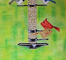Abstract Feeding Birds Mixed Media  by jartcreations