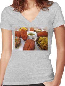 Acarajé, Salvador, Brazil (Brasil) Women's Fitted V-Neck T-Shirt
