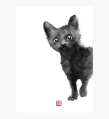 Cat illustration watercolor painting Photographic Print
