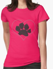 Pawprint in a Heart 1 Womens Fitted T-Shirt
