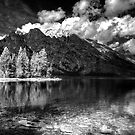 Jenny Lake at Grand Tetons - BW_IR by steini