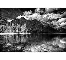 Jenny Lake at Grand Tetons - BW_IR Photographic Print