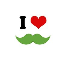 I Heart I Love Green Mustaches by TigerLynx