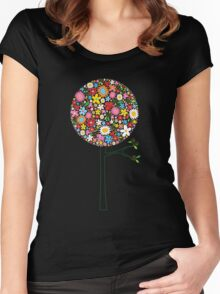 Whimsical Colorful Spring Flowers Pop Tree II Women's Fitted Scoop T-Shirt