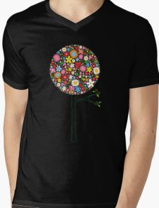 Whimsical Colorful Spring Flowers Pop Tree II Mens V-Neck T-Shirt