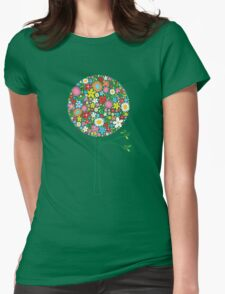 Whimsical Colorful Spring Flowers Pop Tree II Womens Fitted T-Shirt