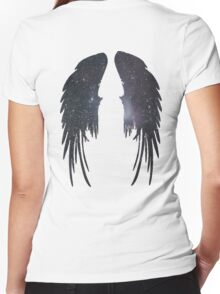 Angel Plain Galaxy Wings Women's Fitted V-Neck T-Shirt