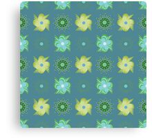 Abstract green flowers pattern Canvas Print