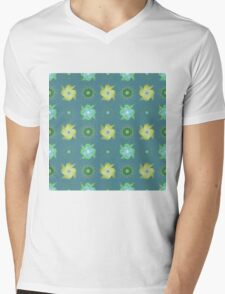 Abstract green flowers pattern Mens V-Neck T-Shirt