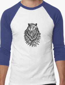 Abstract Wolf Sketch Men's Baseball ¾ T-Shirt