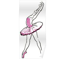 sketch of girls ballerina standing in a pose Poster