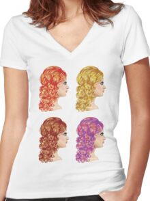 Curly Hairstyle Women's Fitted V-Neck T-Shirt
