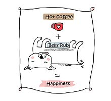 Hot coffee + belly rub = happiness / Dog doodle Photographic Print