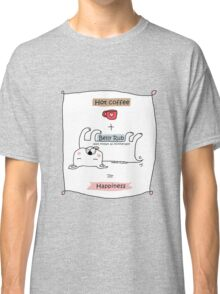 Hot coffee + belly rub = happiness / Dog doodle Classic T-Shirt