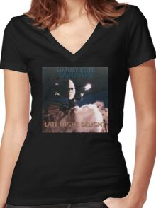 Late Night Delight by Luxury Elite and Saint Pepsi Women's Fitted V-Neck T-Shirt