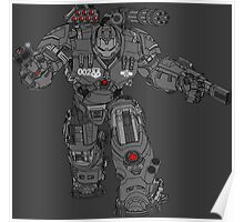 War Machine Tony Stark's Hulkbuster Suit Armour , Black outline with colour fill Poster