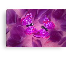 Tulips and Butterflies under water. Canvas Print