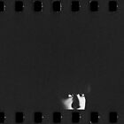 Portrait of young woman in dark black and white gelatin photo by edwardolive