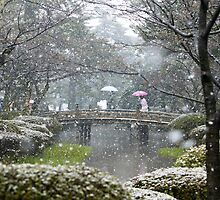 JAPANESE SPRING SNOW SCENE, BY CLAIRE TAKACS by clairetakacs