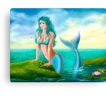 Fantasy beautiful young woman mermaid in sea Canvas Print