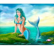 Fantasy beautiful young woman mermaid in sea Photographic Print