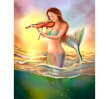 Beautiful  fantasy mermaid plays on violin on sunset Photographic Print