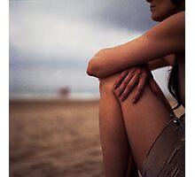 Young woman on beach medium format 6x6 Hasselblad analog portrait photo Photographic Print
