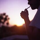 Young man smoking cigarette medium format Hasselblad film photo  by edwardolive