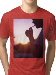 Young man smoking cigarette medium format Hasselblad film photo  Tri-blend T-Shirt