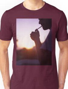 Young man smoking cigarette medium format Hasselblad film photo  Unisex T-Shirt