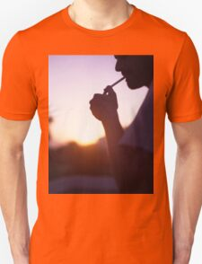 Young man smoking cigarette medium format Hasselblad film photo  Unisex T-Shirt