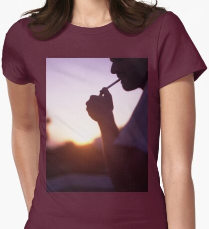 Young man smoking cigarette medium format Hasselblad film photo  Womens Fitted T-Shirt