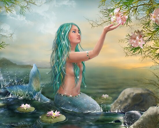 Mermaid in the Sunset with Green Hair & Lilies by Alena Lazareva