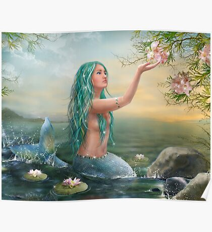Mermaid in the Sunset with Green Hair & Lilies Poster
