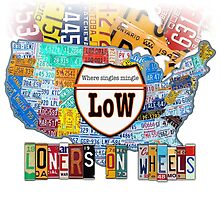 Loners on Wheels License Plate Map Art Dark Version by designturnpike