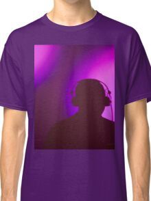 Rap hiphop dance music deejay dj in disco nightclub silhouette Classic T-Shirt