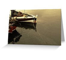 wooden ships on the water Greeting Card